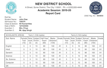 SchoolDesk Report Card Sample